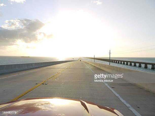 Florida keys drive US1 at sunset