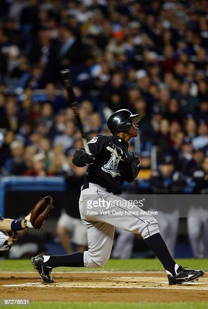 Florida Marlins' center fielder Juan Pierre leads off Game 6 of the World Series with a popout to New York Yankees' Derek Jeter at Yankee Stadium The...