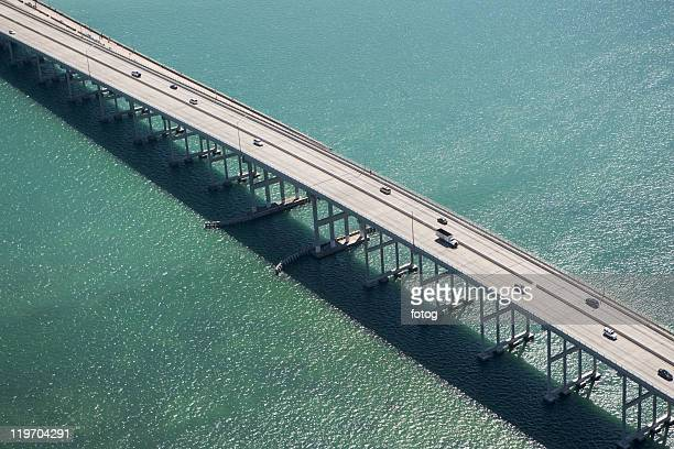 USA, Florida, Miami, Aerial view of Port of Miami Bridge