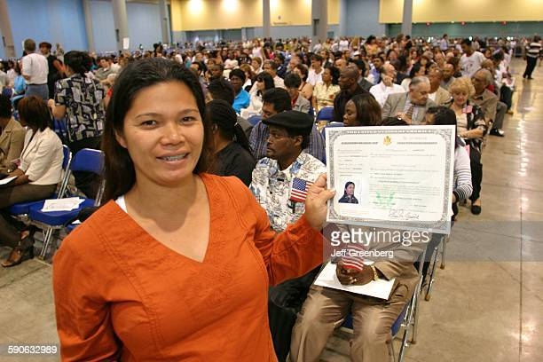 Florida Miami Beach Convention Center Naturalization Ceremony Immigrant With Certificate Of Naturalization