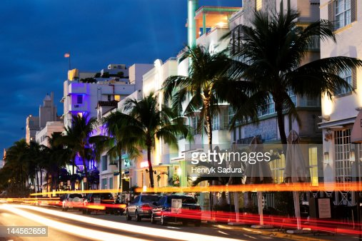 USA, Florida, Miami Beach, Ocean Drive at dusk