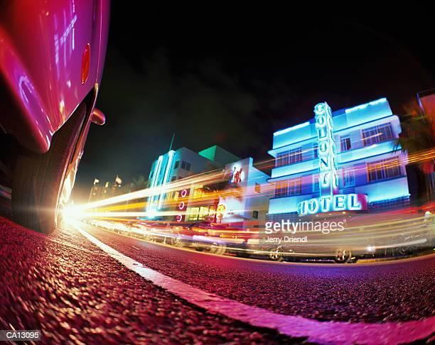 USA, Florida, Miami, Ocean Drive, night, ground view (wide-angle)