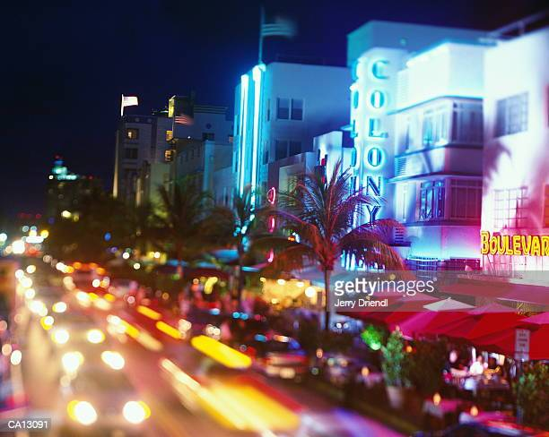 USA, Florida, Miami, Ocean Drive, night (long exposure)
