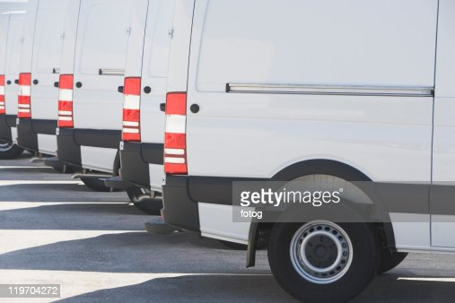 USA, Florida, Miami, White trucks parked side by side
