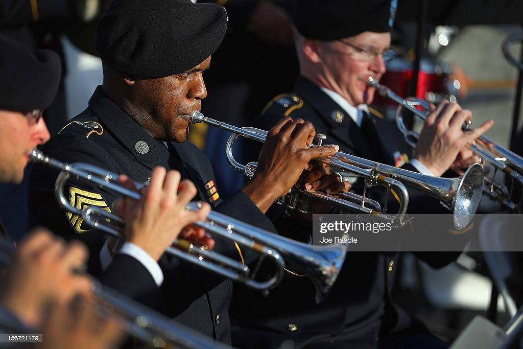 Florida National Guard 13th Army Band members play before the start of the change of command ceremony at the United States Southern Command on November 19, 2012 in Doral, Florida. U.S. Marine Gen. John Kelly takes over the command from U.S. Air Force Gen. Douglas Fraser.