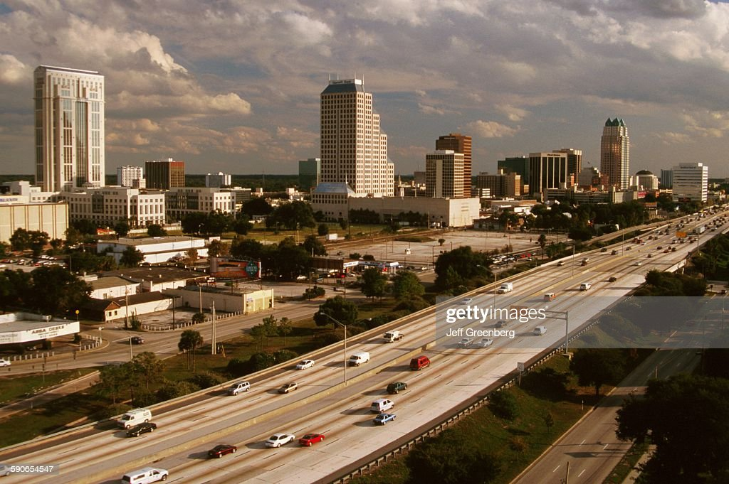 Florida Orlando City Skyline And Traffic On Interstate 4