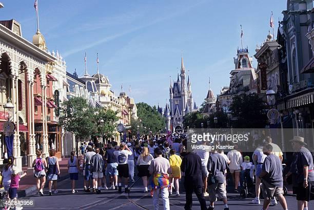 USA Florida Orlando Disney World Magic Kingdom Main Street With Castle