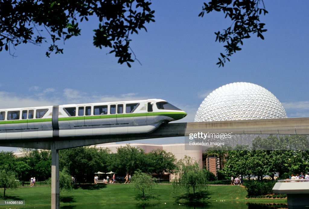 Florida Orlando Epcot Center View Including Sphere And Monorail