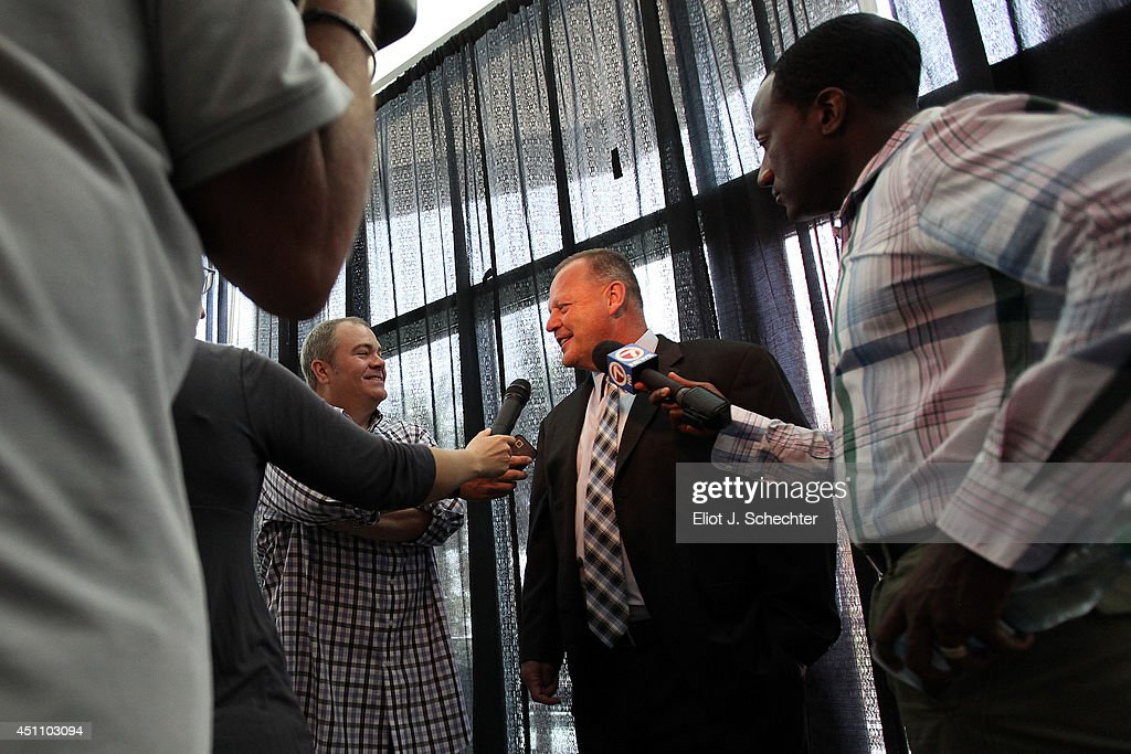 Florida Panthers announced today that Gerard Gallant has been named the club's new head coach. He chats with media after a press conference at the BB&T Center on June 23, 2014 in Sunrise, Florida.