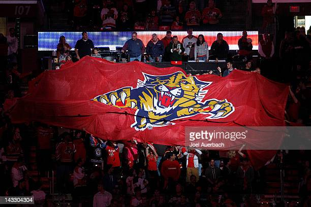 Florida Panthers banner is passed through the crowd during the playing of the national anthem prior to the game against the New Jersey Devils in Game...