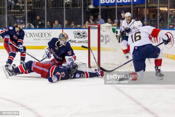 Florida Panthers Center Aleksander Barkov scores butting the Panthers up 32 in the third period of an Eastern Conference matchup between the Florida...