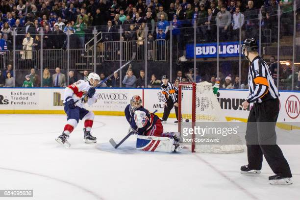 Florida Panthers Center Aleksander Barkov scores during the shoot out to beat the New York Rangers 43 on March 17 at Madison Square Garden in New...