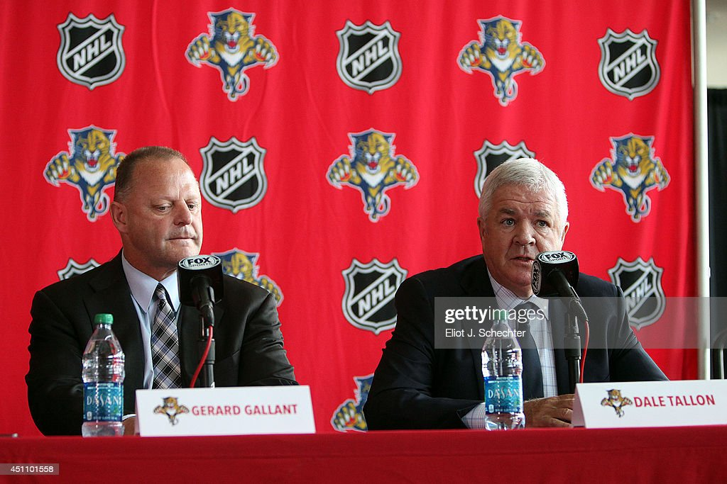 Florida Panthers Executive Vice President and General Manager Dale Tallon (R) announces that Gerard Gallant has been named the club's new head coach at the BB&T Center on June 23, 2014 in Sunrise, Florida.