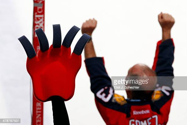 Florida Panthers fans celebrate their 53 win against the New Jersey Devils at the BBT Center on March 14 2014 in Sunrise Florida
