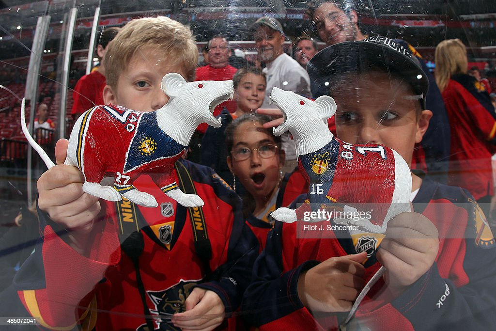 Florida Panthers fans show their victory rats prior to the start of the game against the Columbus Blue Jackets at the BB&T Center on April 12, 2014 in Sunrise, Florida.