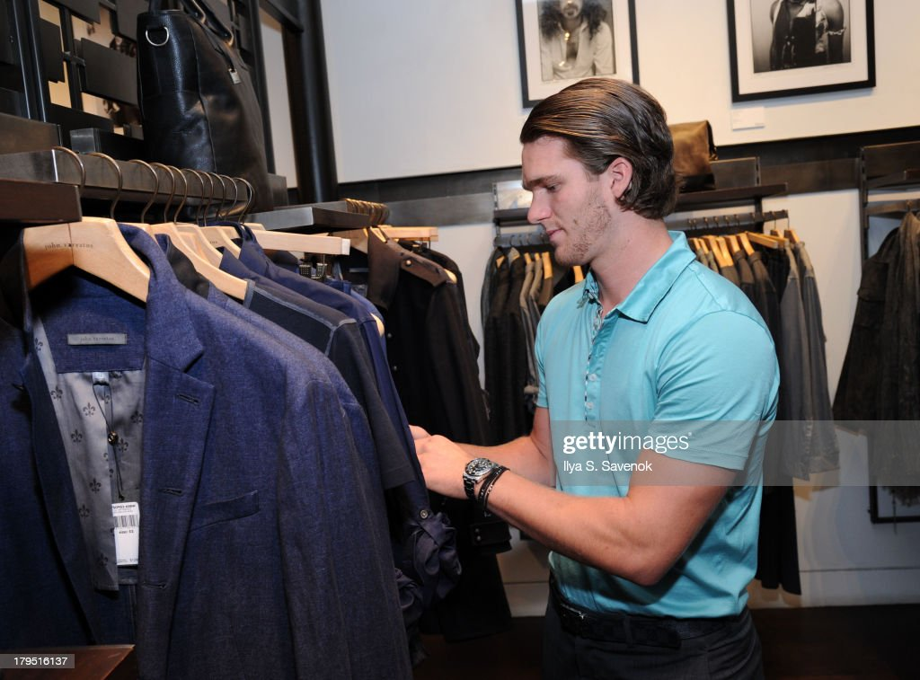 Florida Panthers forward <a gi-track='captionPersonalityLinkClicked' href=/galleries/search?phrase=Jonathan+Huberdeau&family=editorial&specificpeople=7144196 ng-click='$event.stopPropagation()'>Jonathan Huberdeau</a> attends John Varvatos event as part of 2013 NHL/NHLPA Player Media Tour on September 4, 2013 in New York City.