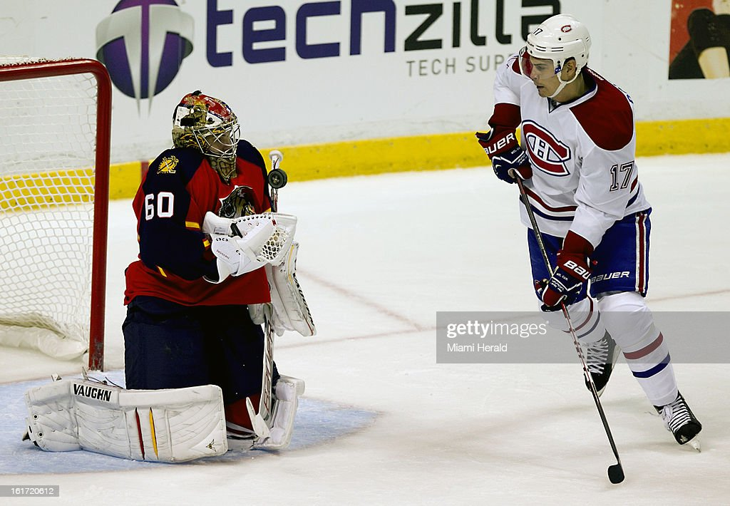 Florida Panthers goalie Jose Theodore stops a second-period shot by the Montreal Candadiens' Rene Bourque (17) at BB&T Center in Sunrise, Florida, on Thursday, February 14, 2013. Montreal won in OT, 1-0.
