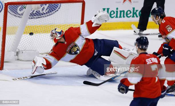 Florida Panthers goalie Roberto Luongo fails to defend against a shot by Carolina Hurricanes right wing Lee Stempniak in the second period on Tuesday...