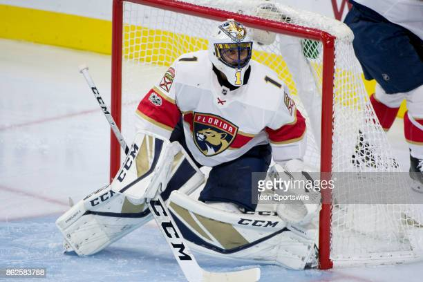 Florida Panthers Goalie Roberto Luongo watches the play in the second period during the game between the Florida Panthers and Philadelphia Flyers on...
