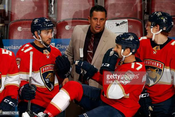 Florida Panthers Head Coach Bob Boughner directs his team from the bench during a break in the action against the Tampa Bay Lightning at the BBT...