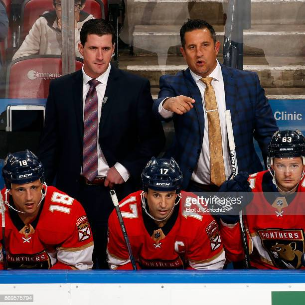 Florida Panthers Head Coach Bob Boughner directs his team from the bench along with Assistant Coach Paul McFarland against the Columbus Blue Jackets...