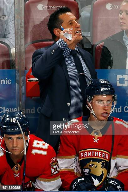 Florida Panthers Head Coach Bob Boughner directs his team from the bench during a break in the action against the Dallas Stars at the BBT Center on...