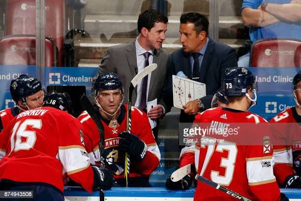 Florida Panthers Head Coach Bob Boughner directs his team from the bench with Assistant Coach Paul McFarland during a break in the action against the...