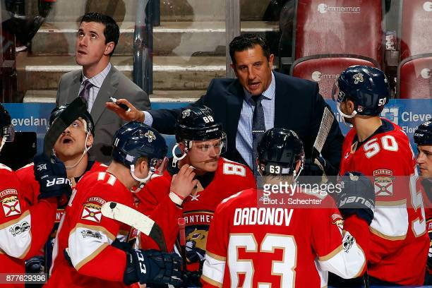Florida Panthers Head Coach Bob Boughner directs his team from the bench along with Assistant Coach Paul McFarland during a break in the action...