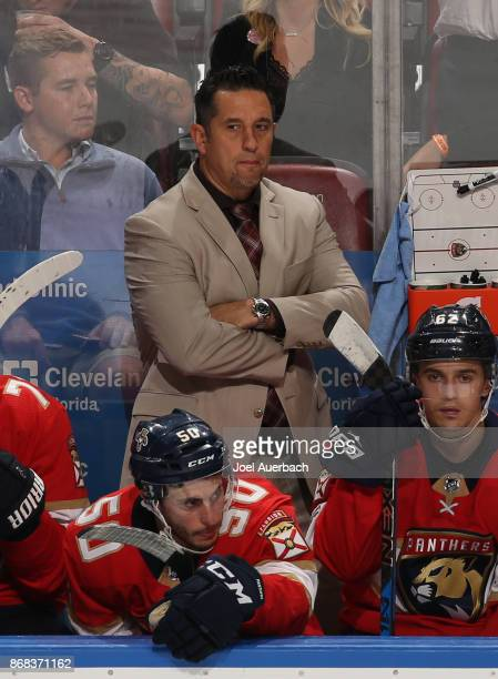 Florida Panthers Head coach Bob Boughner looks on during their period action against the Tampa Bay Lightning at the BBT Center on October 30 2017 in...