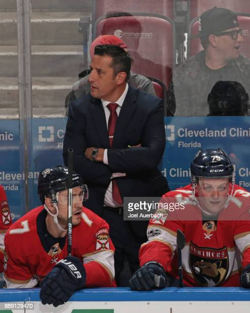 Florida Panthers Head coach Bob Boughner of the Florida Panthers looks towards the Colorado Avalanche bench during third period action at the BBT...