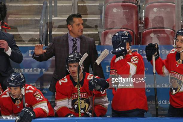 Florida Panthers Head coach Bob Boughner of the Florida Panthers directs the players during third period action against the Detroit Red Wings at the...