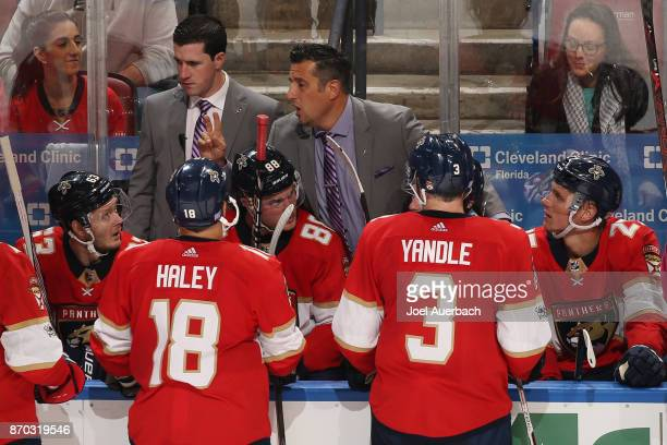 Florida Panthers Head coach Bob Boughner of the Florida Panthers directs the players during the overtime period against the New York Rangers at the...