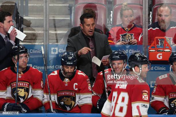 Florida Panthers Head coach Bob Boughner of the Florida Panthers directs the players during third period action against the Winnipeg Jets at the BBT...