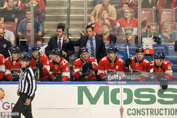 Florida Panthers head coach Bob Boughner reacts after a play in the first period against the Tampa Bay Lightning at the BBT Center in Sunrise Fla on...