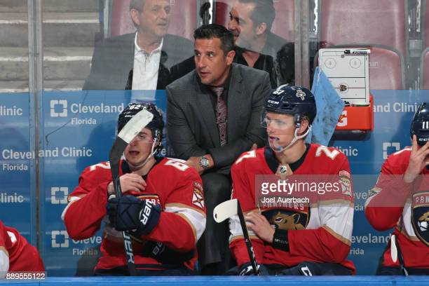 Florida Panthers Head coach Bob Boughner talks to Denis Malgin and Nick Bjugstad of the Florida Panthers during third period action against the...