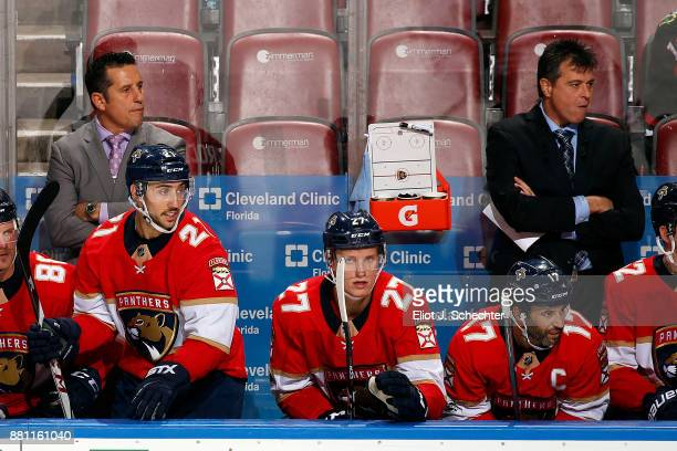 Florida Panthers Head Coach Bob Boughner watches the action along with Associate Coach Jack Capuano against the Chicago Blackhawks at the BBT Center...