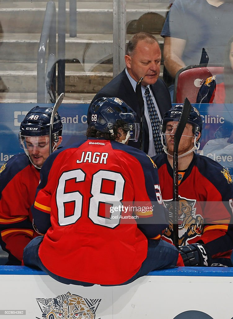 Florida Panthers head coach Gerald Gallant talks to Jaromir Jagr #68 of the Florida Panthers during a break in action against the Montreal Canadiens at the BB&T Center on December 29, 2015 in Sunrise, Florida. The Panthers defeated the Canadiens 3-1.