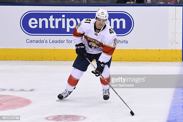 Florida Panthers Left Wing Greg McKegg in warmups prior to the NHL regular season game between the Florida Panthers and Toronto Maple Leafs on...