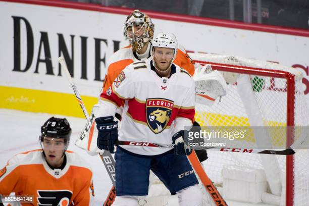Florida Panthers Left Wing Jonathan Huberdeau takes position in front of Philadelphia Flyers Goalie Michal Neuvirth in the first period during the...