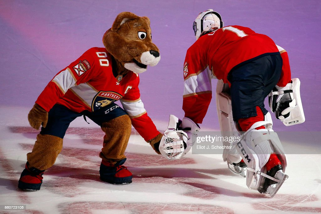 Florida Panthers Mascot Stanley C. Panther celebrates their win with Goaltender Roberto Luongo #1 against the St. Louis Blues at the BB&T Center on October 12, 2017 in Sunrise, Florida.