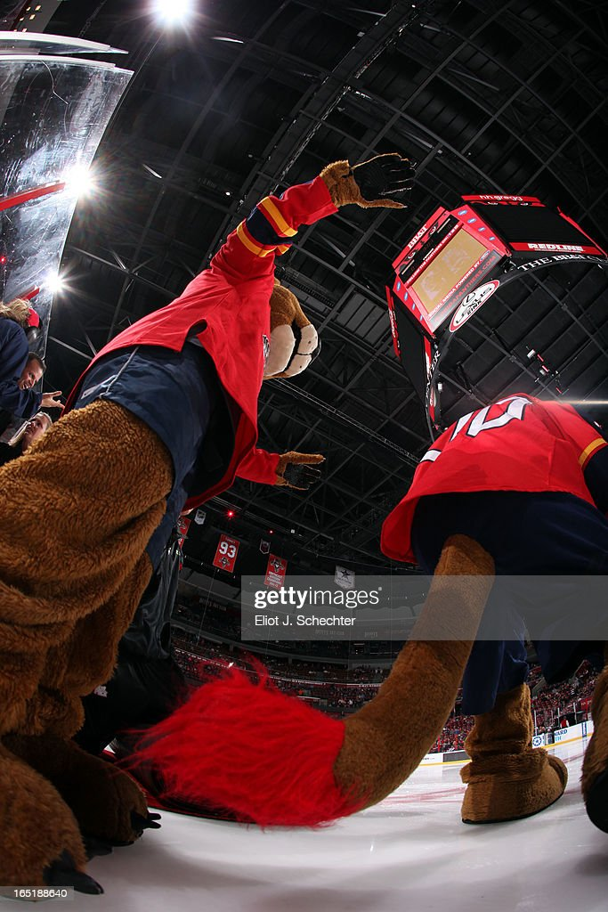 Florida Panthers mascots Stanley C. Panther and Mini Stanley step out onto the ice prior to the puck drop against the New Jersey Devils at the BB&T Center on March 30, 2013 in Sunrise, Florida.