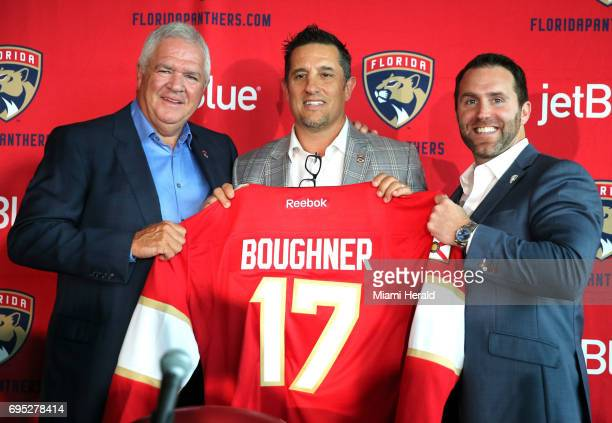 Florida Panthers new coach Bob Boughner center with GM Gale Tallon and CEO Matthew Caldwell as the team holds a press conference to annouce the new...