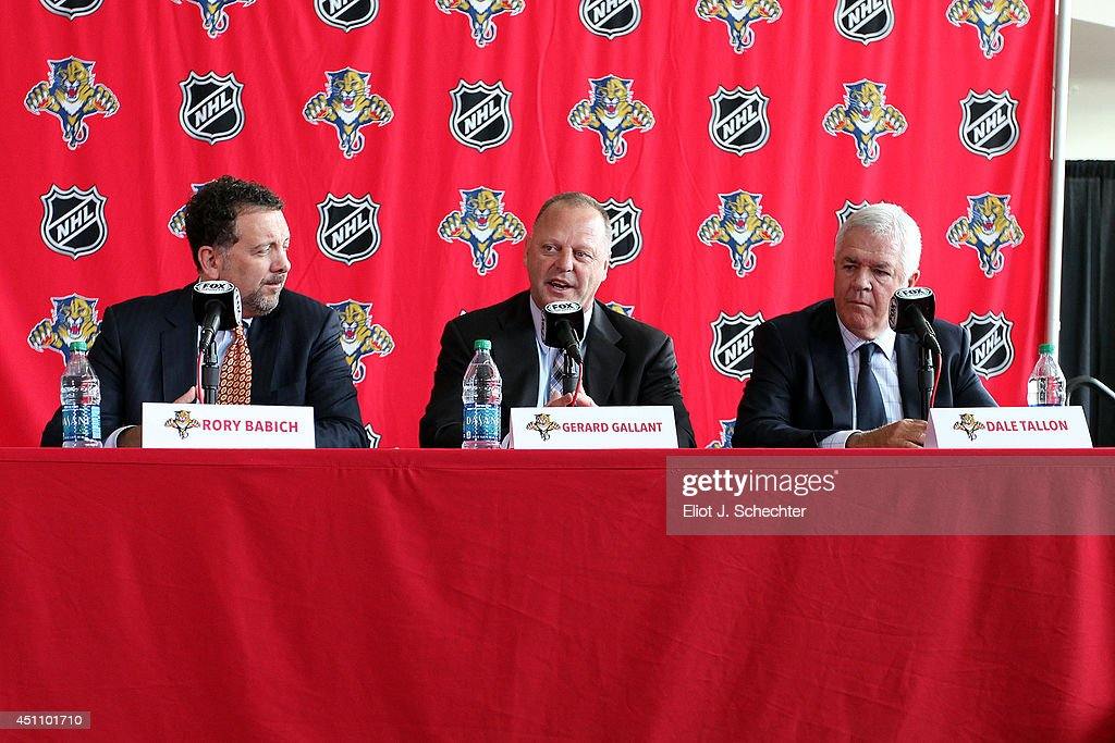 Florida Panthers new Head Coach Gerard Gallant speaks at a press conference flanked by Chief Executive Officer and President Rory A. Babich and Executive Vice President and General Manager Dale Tallon at the BB&T Center on June 23, 2014 in Sunrise, Florida.
