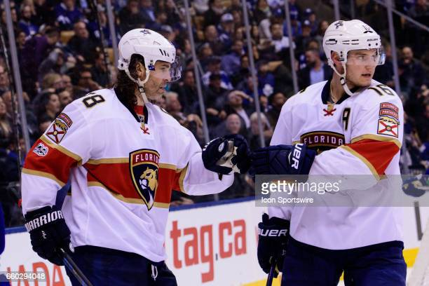 Florida Panthers Right Wing Jaromir Jagr celebrates after scoring his 15th goal of the season with Florida Panthers Center Aleksander Barkov during...