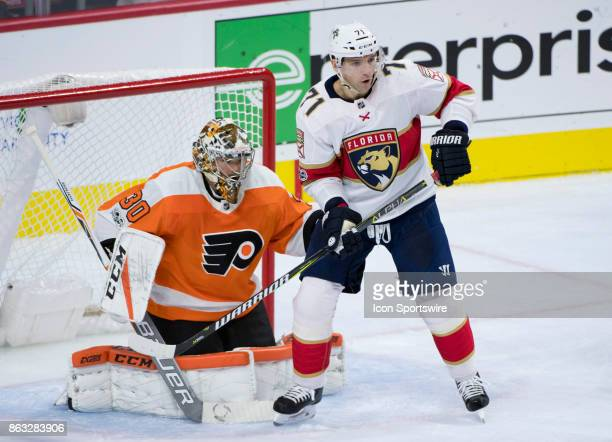 Florida Panthers Right Wing Radim Vrbata looks to deflect shots in front of Philadelphia Flyers Goalie Michal Neuvirth in the second period during...