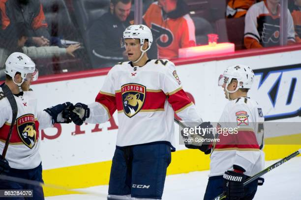 Florida Panthers Winger Nick Bjugstad celebrates a goal with teammates in the third period during the game between the Florida Panthers and...