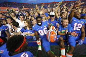 Florida players celebrate after a comefrombehind 2827 win against Tennessee at Ben Hill Griffin Stadium in Gainesville Fla on Saturday Sept 26 2015