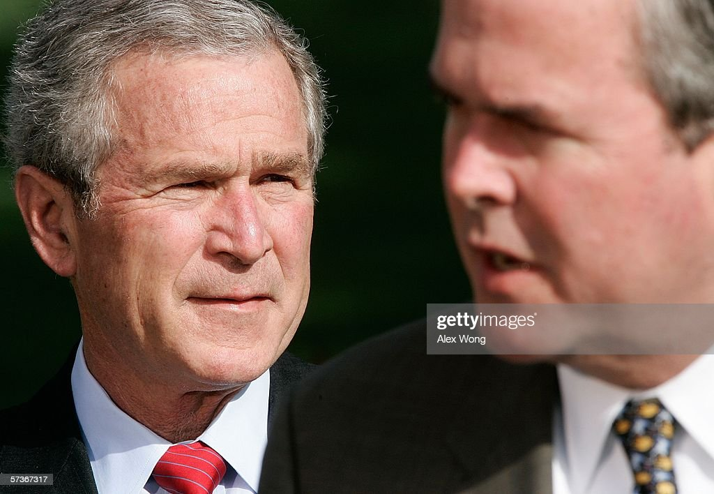 Florida Republican Governor <a gi-track='captionPersonalityLinkClicked' href=/galleries/search?phrase=Jeb+Bush&family=editorial&specificpeople=171487 ng-click='$event.stopPropagation()'>Jeb Bush</a> (R) speaks to the press on the war on terror as his brother U.S. President <a gi-track='captionPersonalityLinkClicked' href=/galleries/search?phrase=George+W.+Bush&family=editorial&specificpeople=122011 ng-click='$event.stopPropagation()'>George W. Bush</a> looks on April 19, 2006 at the White House in Washington, DC. Governor Bush along with Governors Mitch Daniels (R-IN), Governor Tom Vilsack (D-Iowa) and Governor Joe Manchin (D-WVA) have returned from a trip to Iraq and Afghanistan.