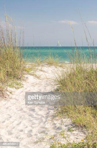 USA, Florida, Sarasota County, Path of white sand to sea