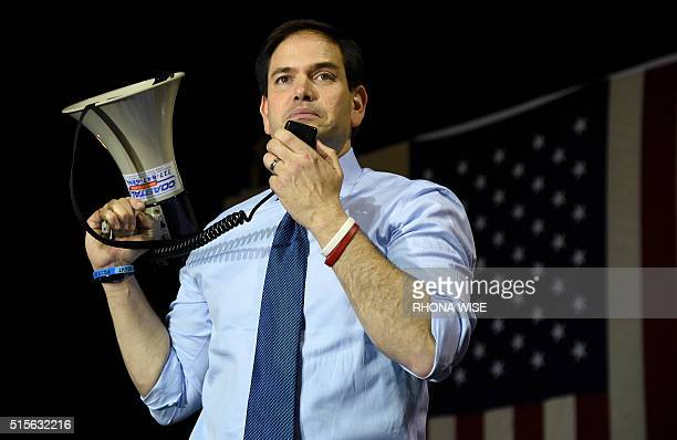 Florida Senator and Republican presidential candidate Marco Rubio addresses a rally on March 14 2016 in Miami Florida on the eve of crucial primary...
